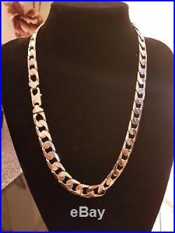 Mens 9ct Gold Heavy Curb Chain. 127grams 25 inch long