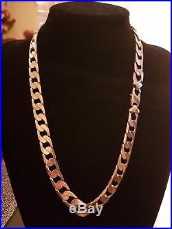 Mens 9ct Gold Heavy Curb Chain. 154.6 Grams. 24 Inch