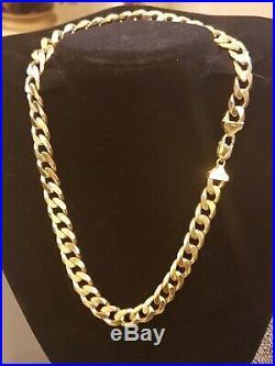 Mens 9ct Gold Heavy Curb Chain. 157.6 Grams, 21 1/2 Inch