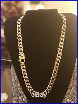 Mens 9ct Gold Heavy Curb Chain. 265 Grams. 25 Inch