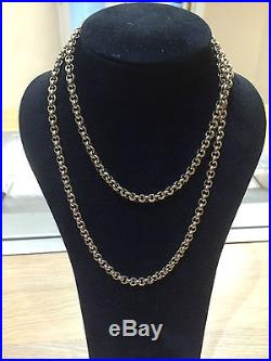 Mens 9ct gold belcher link chain 30 in length 63.51grams heavy necklace