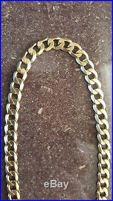 Mens 9ct solid gold Curb chain 48g 20