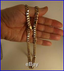 Mens Fabulous Heavy 20 9ct Gold CURB Chain Necklace Gift Dia Cut 46gr 8mm 745n