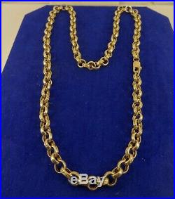 Mens Fabulous LONG 26 9ct Gold Patt BELCHER Chain Necklace Hm 69gr 8mm 788n