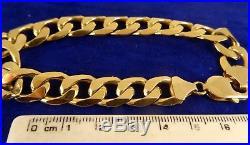 Mens Gents Heavy Solid 9ct Gold CURB Bracelet 38gr Hm 8.7511mm RRP £1925 cx926