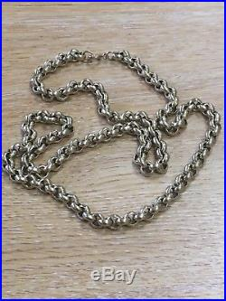 Mens Gents Solid 9ct Gold Belcher Chain Necklace Heavy, 93.4 Gm, Length 24, Gold
