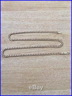 Mens Gold 9ct Solid Heavy Curb Chain Necklace, 24 Inches Long, 32 Grams, Stunning
