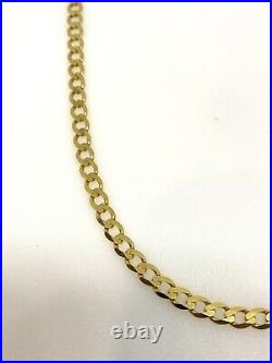 Mens Gold Chain Heavy Curb Chain 9ct Yellow Gold Curb Link Chain Necklace 18inch