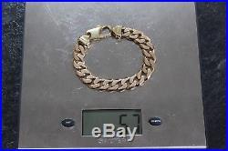 Mens High Quality 9ct Gold Heavy Flat Curb Link Bracelet