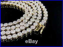 Mens Ladies Solid Yellow Gold Pave 1 Row Real Diamond Chain Necklace 9 ct 30