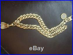 Mens Solid 9ct Gold Curb Chain and boxing glove 262g