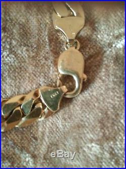 Mens heavy 9ct gold curb bracelet