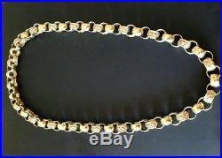Mens heavy solid 9ct gold Belcher chain 217 grams