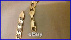 Mens solid halmarked 9 ct gold curb chain 32.7g