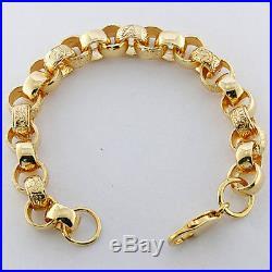 NEW 9ct Gold Heavy Ornate Belcher Bracelet 10mm 31.2G 8.5 RRP £1250 (C169)