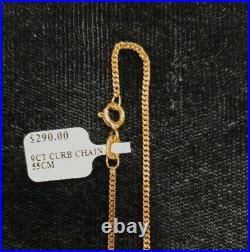 NEW 9ct Yellow Gold Fine Flat Curb Chain 55cm Hallmarked 375 Made in Italy