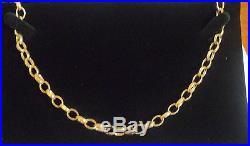 Necklace chain 9ct gold Popular BELCHER DIAMOND CUT OVAL links 241/2 29.2g