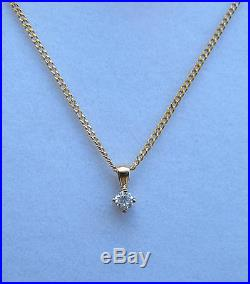 New 1/5ct Diamond Solitaire 9ct Yellow Gold Pendant &18 inch Chain £160 Freepost