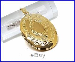 New 9CT Gold Filled Large Oval Engraved Locket Pendant and Chain B17