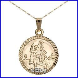 New 9ct Gold Reversible St Christopher Pendant and Chain Necklace Jewellery