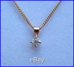 New Diamond Solitaire 9ct Rose Gold Pendant Necklace & Gold Chain £160