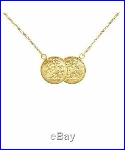 New Solid 9ct Gold St George Coin Half Sovereign Size Necklace RRP £395