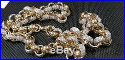New solid 9kt 9ct gold stone set 211g belcher chain not scrap hallmarked HUGE'