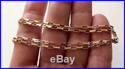 Nice Early Vintage Hallmarked 9ct Gold Open Box Link 24 inch Necklace Chain