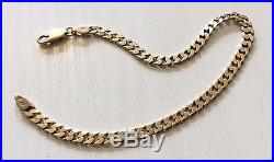 Nice Quality Full Hallmarked Vintage Solid 9ct Gold Curb Bracelet