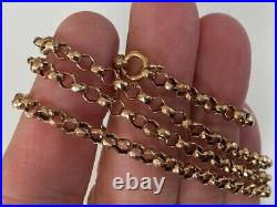 OLD VINTAGE ANTIQUE STRONG 24.5 INCHES LONG 9ct GOLD CHAIN NECKLACE BELCHER LINK