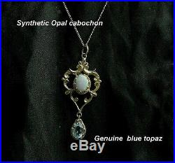 Opal & Blue Topaz Pendant + 9ct Gold + 18 Chain yellow gold Impressive quality