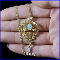 Opal Floral Pendant Chain 18ct Gold Silver