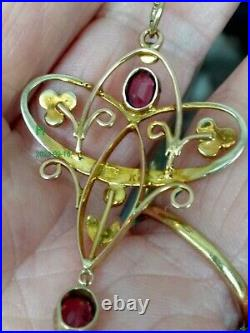 Pretty Edwardian 9ct Gold Garnet & Pearl Lavaliere Pendant & Chain