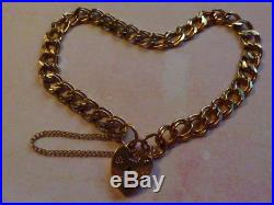 Pretty Vintage 9ct GOLD Double Curb Charm Bracelet HEART Lock & Safety chain