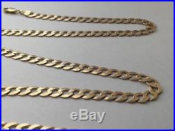 QUALITY 375 9CT GOLD FLAT CURB LINK NECKLACE CHAIN 21 inches 14.35g