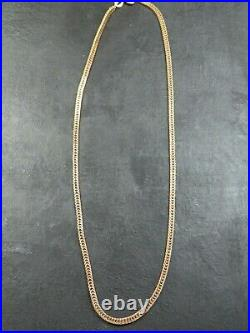 RARE VINTAGE 9ct GOLD FLAT FOXTAIL LINK NECKLACE CHAIN 16 1/2 inch 1979