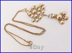 Rare 18th century georgian flat cut almandine garnet 9ct gold pendant on chain