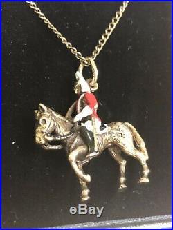 Rare 9ct Gold Georg Jensen Horse & Soldier Pendant & Chain 8.8grams Hallmarked