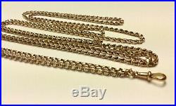Rare Antique 9ct Rose Gold Long Guard / Muff Chain Necklace 55 inches long 24g