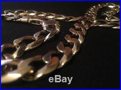 Rare Stunning & Very Heavy 4.4oz 9ct Gold Curb Link Chain Hallmarked 137g