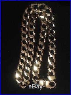 Rare & Stunning & Very Heavy 4.5oz 9ct Gold Curb Chain Hallmarked 137g Rrp £4500