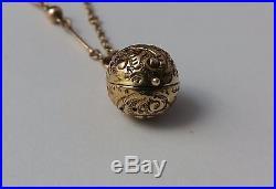 Rare antique Victorian solid 9ct gold ball pendant vinaigrette on chain c1880