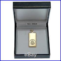 Rectangular 9ct Gold St Saint Christopher Pendant Chain Necklace With Gift Box