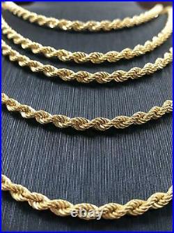 Rope Chain Bracelet 375 9ct Genuine Gold Mens Ladies Necklace Hallmarked 3.5MM