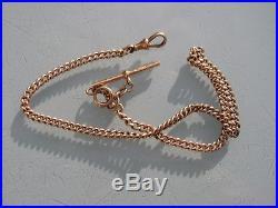 Rose Gold Antique Pocket Watch Albert Chain 9ct Hallmarked Every Link Cdb Maker