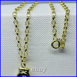 SGenuine 9ct Yellow Gold Boxing Glove Pendant&Necklace Chain 18 NEW