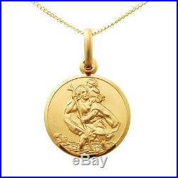 SMALL 9CT GOLD ST SAINT CHRISTOPHER PENDANT CHAIN NECKLACE WITH 18 CHAIN 14mm