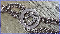 SOLID 9ct GOLD POCKET WATCH CHAIN & MASONIC FOB ANTIQUE
