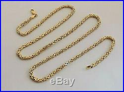 SQUARE BYZANTINE GOLD NECKLACE 23.5 chain long 9ct 375 2.5mm wide link 22g