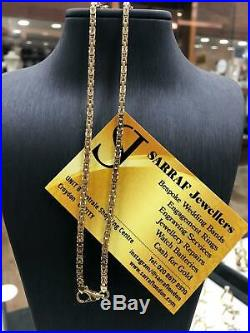 SQUARE BYZANTINE KING Chain 375 9ct Yellow GOLD Solid Mens Ladies NECKLACE 24